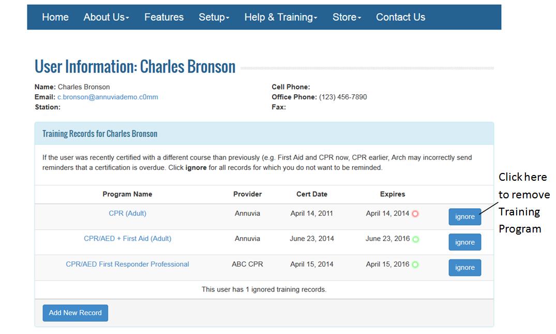 How do I delete my training record?
