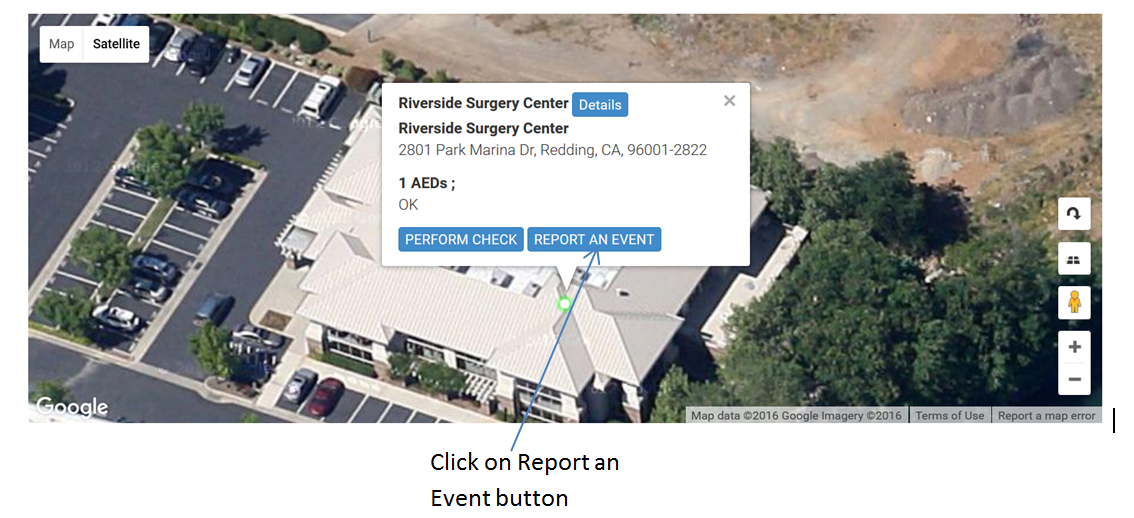Report an Event - Click on the button